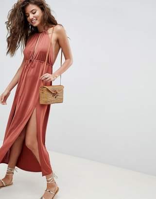 Asos Design DESIGN Halterneck Plunge Slinky Maxi Dress