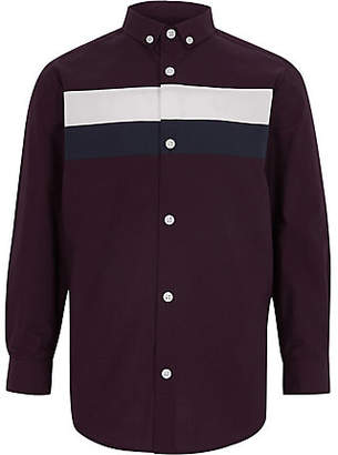 River Island Boys purple color block shirt