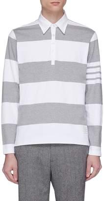 Thom Browne Stripe jersey long sleeve polo shirt