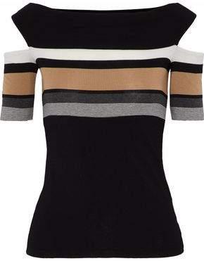 Bailey 44 Celeste Cold-Shoulder Striped Stretch-Jersey Top