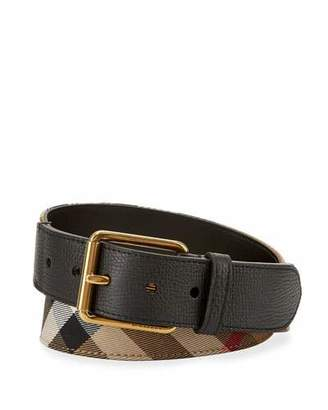 Burberry Mark House Check Belt, Camel/Black