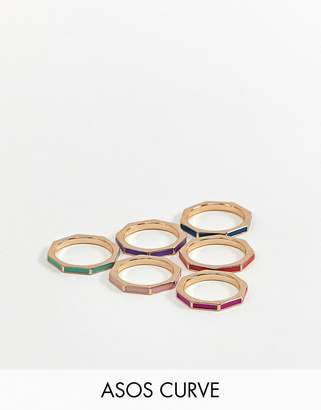 Asos DESIGN Curve exclusive pack of 6 rings in octagon shape and colour pop