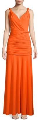 Halston Full-Length Shirred Grecian Dress