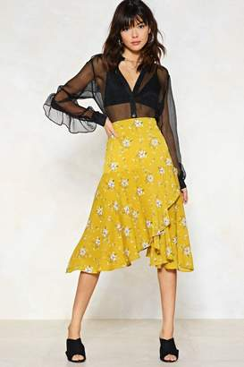 Nasty Gal You're My Bud Floral Midi Skirt