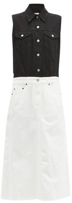 MM6 MAISON MARGIELA Two Tone Denim Shirtdress - Womens - Black White