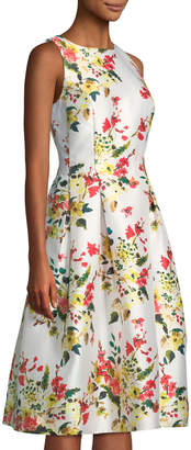 Tahari ASL Floral-Print Mikado Fit-&-Flare Dress