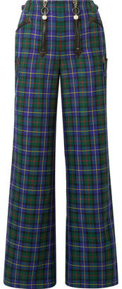 Opening Ceremony Leather-trimmed Tartan Flannel Wide-leg Pants - Navy