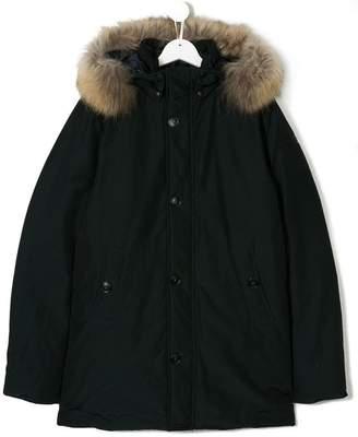 Woolrich Kids TEEN fur trim hooded parka