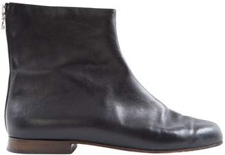 Courreges Black Leather Ankle boots