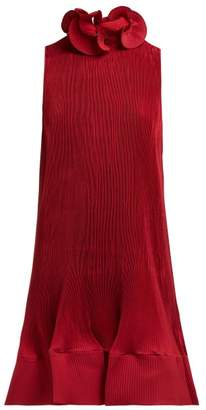Tibi Ruffled Pleated Crepe Dress - Womens - Burgundy