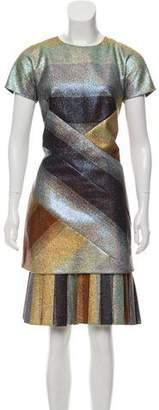 Marco De Vincenzo Striped Metallic Dress