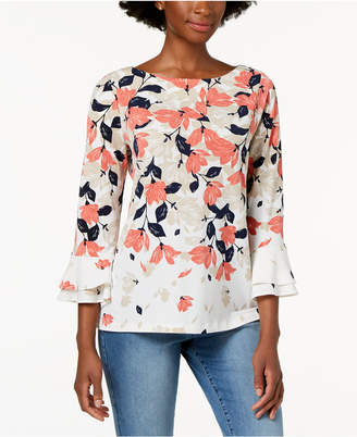 Charter Club Petite Tiered Bell-Sleeve Printed Top, Created for Macy's