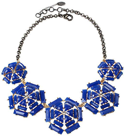 Blue Austrian Crystal & Gunmetal Jenny Bib Necklace