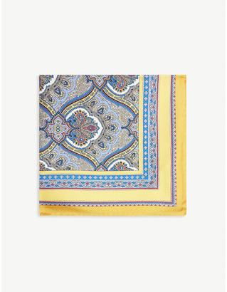 Eton Paisley print silk pocket square