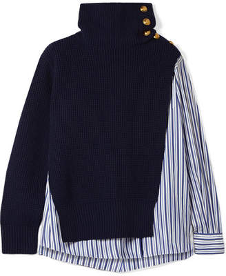 Sacai Paneled Striped Cotton-poplin And Wool Top - Navy