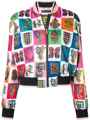 Versace Alphabet print bomber jacket