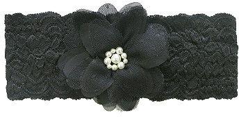 Ulta Riviera Black Lace w/Mesh Chiffon Flower Headwrap