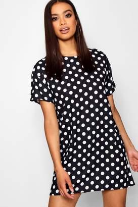boohoo Polka Dot Short Sleeved Shift Dress
