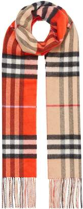 Burberry Long Reversible Colour Block Double-faced Cashmere Scarf