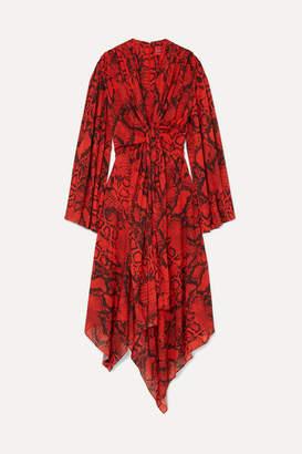 SOLACE London Nelli Asymmetric Snake-print Chiffon Dress - Snake print