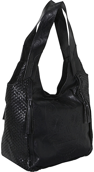 Loungefly Black Skull Woven Hobo With Tassels