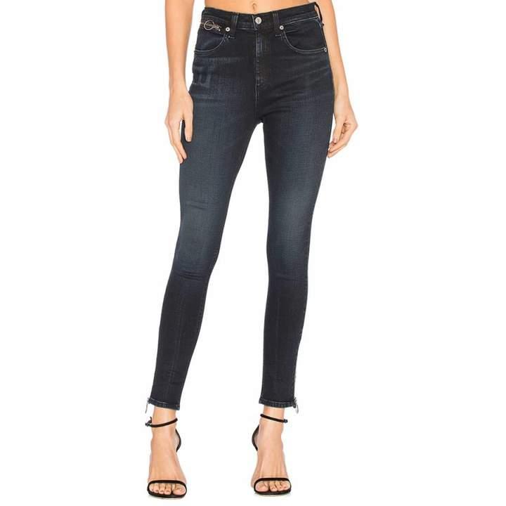 Women's Charcoal Ring Dive Capri Skinny Stretch Cotton Jeans