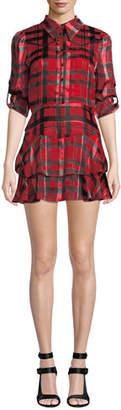 Alice + Olivia Hazeline Roll-Cuff Tiered Shirtdress