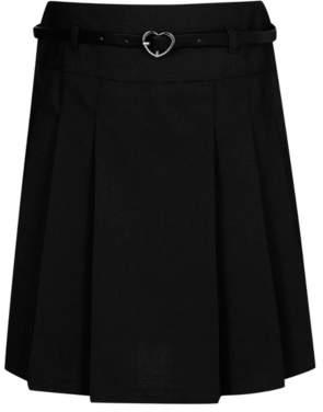 George Girls Black School Belted Pleat Skirt