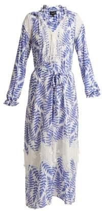 Saloni Ali fern-print crepe de Chine silk dress