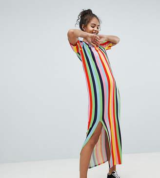 Asos Tall DESIGN Tall t-shirt maxi dress in rainbow stripe