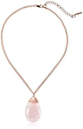 Kenneth Cole New York Women's Rose Gold Tone Pendant Necklace with Tone Pendant