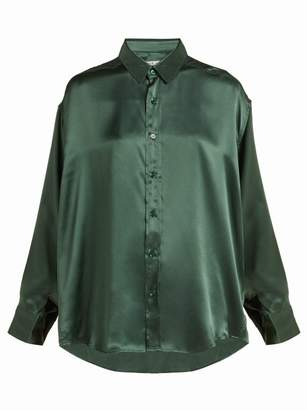 Katharine Hamnett London - Nicola Long Sleeved Silk Shirt - Womens - Green
