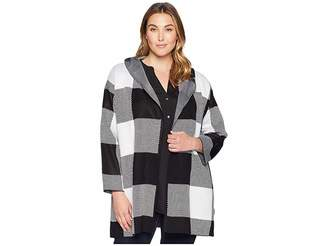 Calvin Klein Plus Plus Size Long Check Jacket w/ Hood