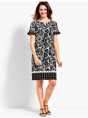 Talbots Abstract Floral Shift Dress