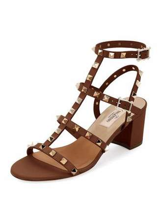Valentino Rockstud Leather 60mm City Sandal, Light Brown $1,045 thestylecure.com