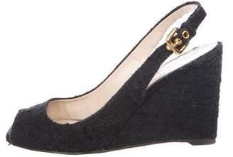 Prada Tweed Slingback Sandals