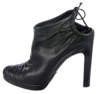 Gucci Leather Ruched Booties Black Leather Ruched Booties