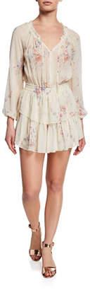LoveShackFancy Floral Silk Popover Dress