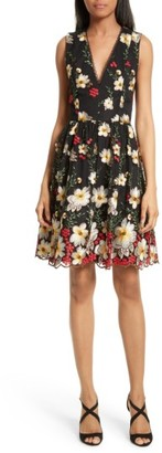 Women's Alice + Olivia Becca Embroidered Pouf Dress $550 thestylecure.com