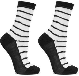Wolford Isabella Set Of Two Striped Cotton-blend Socks - Black