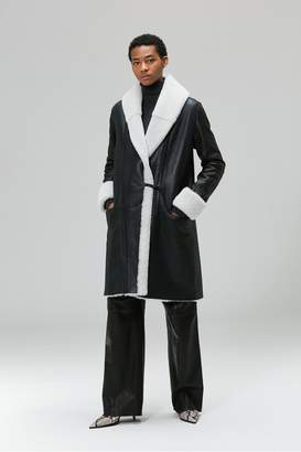 Veda Estate Shearling Coat White And Navy