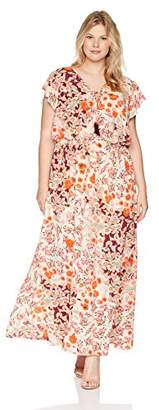 Adrianna Papell Women's Size Plus Capsleeve Maxi Dress