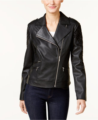 INC International Concepts Embroidered Faux-Leather Moto Jacket, Only at Macy's $159.50 thestylecure.com