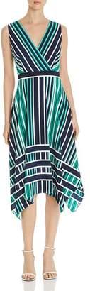 Karl Lagerfeld Paris Sleeveless Striped Handkerchief-Hem Dress