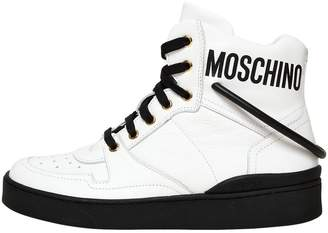 Moschino 20mm Leather Logo High Top Sneakers