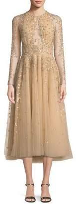 Murad Zuhair Ariana Long-Sleeve Embroidered Tea-Length Cocktail Dress