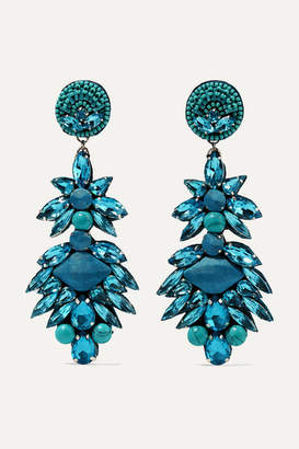 Ranjana Khan Multi-stone Clip Earrings - Turquoise