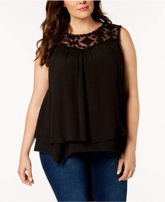 31abcbbd5f2 Style Co. Style   Co Plus Size Lace-Yoke Crochet-Trim Tiered Top