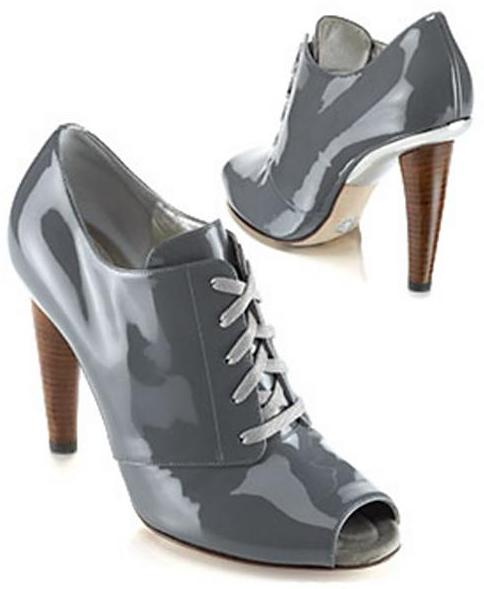 Dolce & Gabbana Runway Patent Lace-Up Bootie, Gray