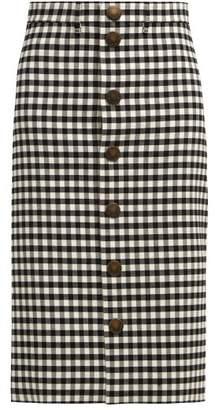 Balenciaga Vichy Gingham Pencil Skirt - Womens - Black White